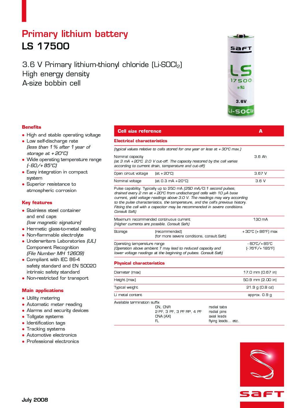 SAFT LS-17500